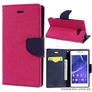 Mercury Fancy Diary Wallet Case for Sony Xperia M2 - Hot Pink