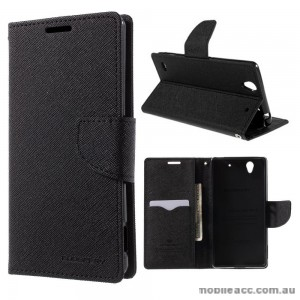 Korean Mercury Fancy Diary Wallet Case Cover for Sony Xperia C4 Black