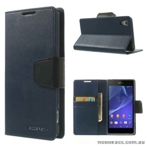 Korean Sonata Wallet Case for Sony Xperia Z3 - Navy Blue