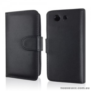 Synthetic Leather Wallet Case for Sony Xperia Z3 Compact - Black