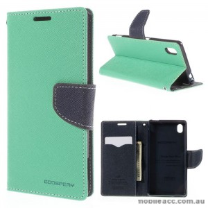 Korean Mercury Goospery Fancy Diary Wallet Case for Sony Xperia M4 Green
