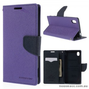 Korean Mercury Goospery Fancy Diary Wallet Case for Sony Xperia M4 Purple