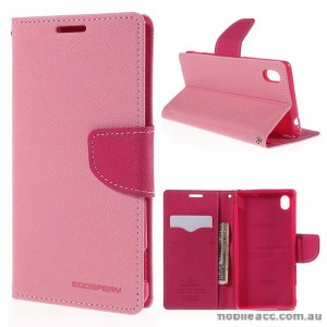 Korean Mercury Goospery Fancy Diary Wallet Case for Sony Xperia M4 Light Pink