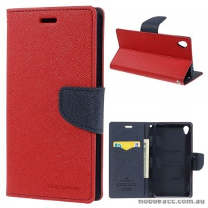 Mercury Fancy Dairy Wallet Case for Sony Xperia Z5 Red