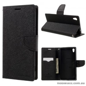 Korean Mercury Fancy Diary Wallet Case For Sony Xperia X - Black