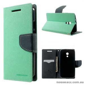 Korean Mercury Fancy Diary Wallet Case for Motorola Moto G2 - Mint
