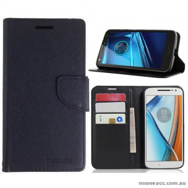 Mooncase Stand Wallet Case For Motorola Moto G4 Play Black