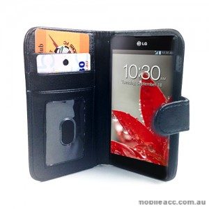 Synthetic Leather Litchi Skin Wallet Case for LG Optimus G E975 - Black