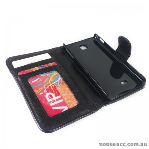 Litchi Skin Synthetic Leather Wallet Case for LG Optimus F5 P875 - Black