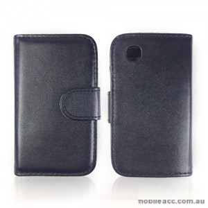 Synthetic Leather Wallet Case Cover for LG L40 - Black