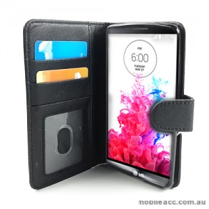Synthetic Leather Wallet Case Cover for LG G3 - Black