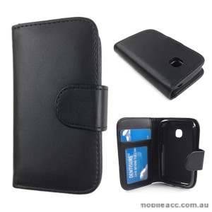 Synthetic Leather Wallet Case Cover for LG L20 - Black