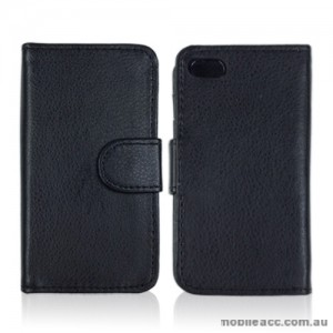 Synthetic PU Leather Wallet Case Cover for Apple iPhone 4S / 4 - Black