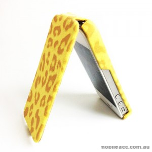 GOOD Quality Leopard Pattern Flip Case for Apple iPhone 4S / 4 - Yellow