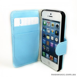 Melkco Synthetic Leather Wallet Case for iPhone 5/5S/SE - Blue
