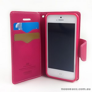 Mercury Goospery Fancy Diary Wallet Case for iPhone 5C - Hot Pink