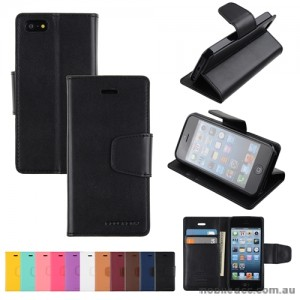 Mercury Goospery Sonata Diary Wallet Case for iPhone 5/5S/SE - Black