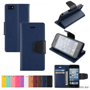 Mercury Goospery Sonata Diary Wallet Case for iPhone 5/5S/SE - Navy Blue