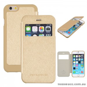 Korean WOW Window View Flip Cover for iPhone 5/5S/SE - Gold
