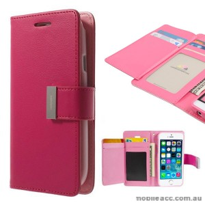 Korean Mercury Rich Diary Wallet Case for iPhone 6+/6S+ - Hot Pink