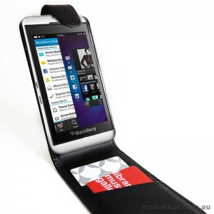 Synthetic PU Leather Flip Case for Blackberry Z10 - Black