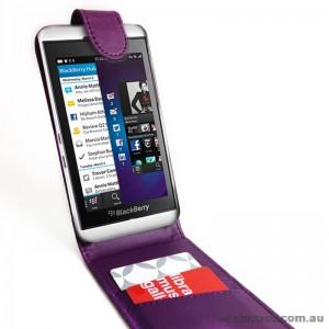 Synthetic PU Leather Flip Case for Blackberry Z10 - Purple