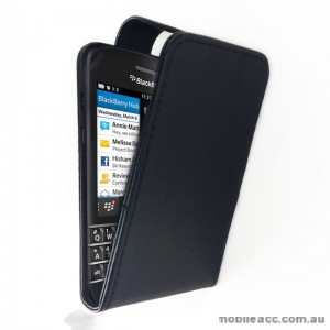 Synthetic PU Leather Flip Pouch Case with Card Slots for Blackberry Q10 - Black