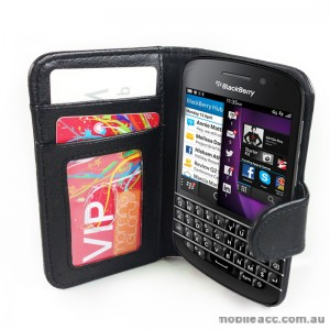 Litchi Skin Synthetic Leather Wallet Case for Blackberry Q10 - Black