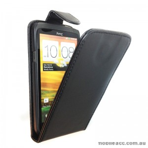 Synthetic Flip Case Cover for HTC One X - Black