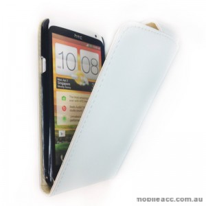 Synthetic Leather Flip Case Cover for HTC One X - White