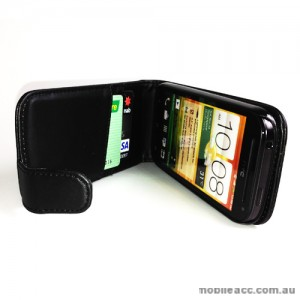 Synthetic Leather Flip Case for HTC One SV - Black