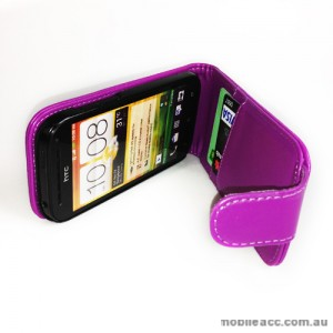Synthetic PU Leather Flip Case for HTC One SV - Purple