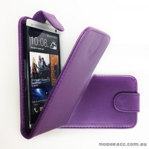 Synthetic PU Leather Flip Case for HTC One M7 - Purple