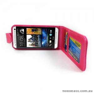 Synthetic Leather Flip Case for HTC One mini M4 - Hot Pink