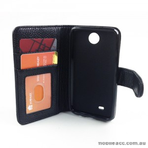 Synthetic Leather Wallet Case Cover for HTC Desire 300 - Black