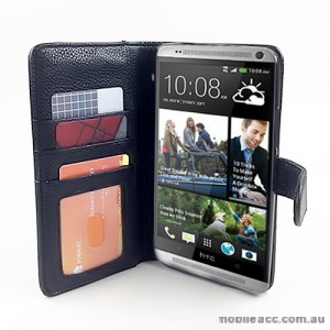 Synthetic Leather Wallet Case for HTC One Max T6 - Black