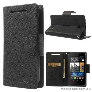 Korean Mercury Fancy Diary Wallet Case for HTC Desire 310 - Black