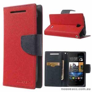 Korean Mercury Fancy Diary Wallet Case for HTC Desire 310 - Red
