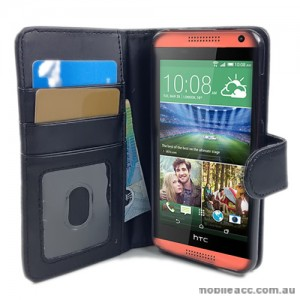 HTC Desire 610 Synthetic Leather Wallet Case - Black