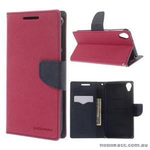 Korean Mercury Fancy Diary Wallet Case for HTC Desire 820 Hot Pink