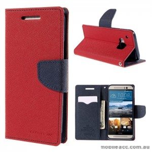 Korean Mercury Fancy Wallet Case for HTC One M9 - Red