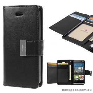 Korean Mercury Rich Diary Double Wallet Case for HTC one M9 - Black