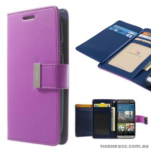 Korean Mercury Rich Diary Double Wallet Case for HTC one M9 - Purple
