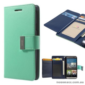 Korean Mercury Rich Diary Double Wallet Case for HTC one M9 - Green