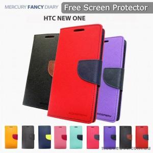 Korean Mercury Fancy Dairy Wallet Case For HTC One M10 - Navy Blue