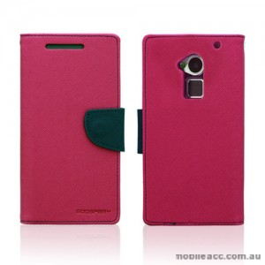 Korean Mercury Wallet Case for HTC One Max - Hot Pink