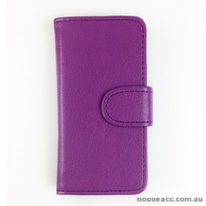 Synthetic PU Leather Wallet Case for Telstra Pulse ZTE T790 - Purple