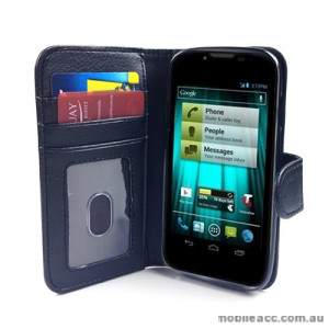 Synthetic Leather Wallet Case for Telstra EasyTouch 4G ZTE T82 - Black