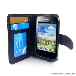 Synthetic Leather Wallet Case for Telstra Huawei Ascend Y201 - Black