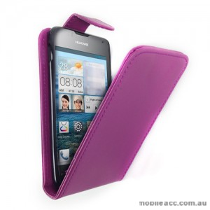 Synthetic Leather Flip Case for Telstra Huawei Ascend Y300 - Purple